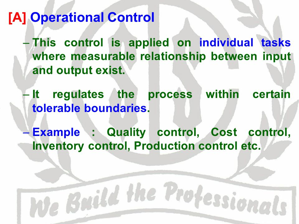 [A] Operational Control